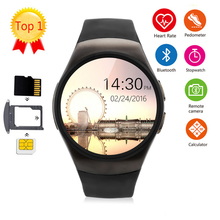 KingWear KW18 1.3'' IPS Round Dial Smartwatch Phone SIM Card MTK2502 Pedometer Bluetooth 4.0 Heart Rate Monitor Sport Tracker(China)