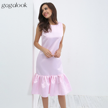 gagalook Satin Autumn Dress Women Sexy Bodycon Pink Blue Tank Ruffle Party Long Dress Robe Femme 2017 D1989(China)