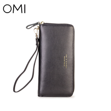 OMI Women's wallet Women's Clutch Female's purse ladies' long wallet genuine leather purse famous designer brand luxury Clutches(China)