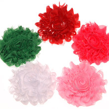 200PCS Shabby Chiffon Chic Flower Boutique Flowers 7.5cm Cheap Decoration Flowers DIY Flowers for Hair Accessories 5 Colors(China)