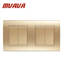 MVAVA Double 4 Gang Wall Switch Luxury Champagne Gold Electrical Push Button Light Switch Safe Fire Proof PC Panel Free Shipping
