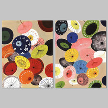 Retro Japanese Chinese Style decoration umbrella pattern 2pcs/set wall art picture oil Canvas Painting for living room unframed(China)