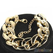 3 Color Fashion Women's Golden/Black/Silver  Curb Chain Link Plastic Bracelet  1F8P