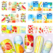 1x Nail Stickers Water Transfer Full Wraps Beauty New Summer Fruit Drinking Decals Nail Watermark Tips for polish C264-267