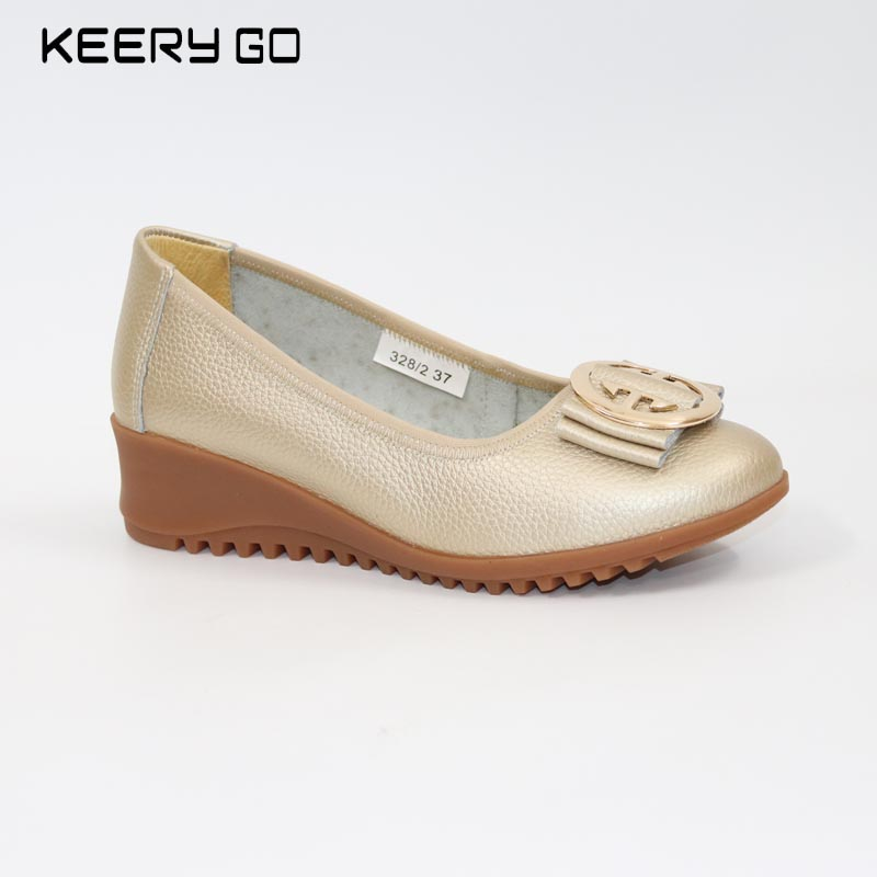 First layer of cowhide wedges single shoes leather womens shoes 35 - 41 <br>