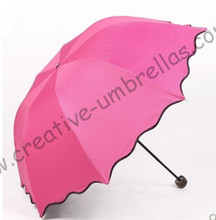 2 times black coating,100%sunscreen,UPF>50+,parasol,8k ribs,three fold,hand open umbrellas,windproof,black,pocket parasol