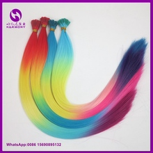 50pcs orange yellow blue pink color 1g Four Tone Synthetic Stick I Tip Hair Extensions Women Cosplay Party Grizzly hair