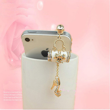 3.5mm RhInestones High-heeled Shoes and Handbag Cellphone Charms Anti Dust Earphone Jack Plug Stopper 366791(China)