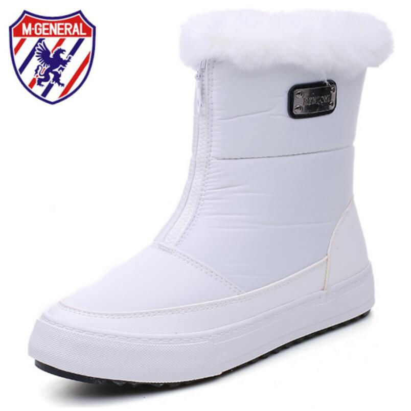 M GENERAL Winter Shoes Women 2017 Mid-Calf Winter Boots Woman Sneakers Casual White Shoes Zip Plush Warming Women Boots <br>