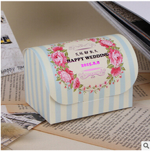 PASAYIONE Kawaii Elegant Stripped Foldable Candy Boxes For Casamento Decoration Treasure Chest Shaped Containers For Sugar Favor