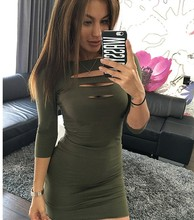 New 2017Sexy slim mini drees front chest hollow design have broken hole style clothes women short seven point sleeve Woman dress(China)