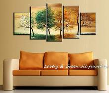 High Quality Hand Painted 4 Season Tree Oil Painting White Green Red Landscape 5 Pcs Canvas Wall Art Set Modern Abstract Picture(China)