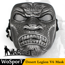 WOSPORT Desert Legion V6 Military Steel Net Protective e Tactical Mask for Paintball CS Gam Training Paintball Halloween Party