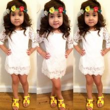 2-11Y Summer Sundress White Toddler Kids Girl Lace Princess Party Dress Dresses