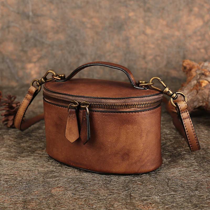 85a869a248e2 Натуральная кожа плечо сумка через плечо Винтаж ведро стиль 2018 женская сумка  ручной работы из натуральной