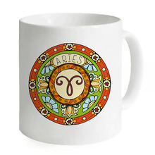 Aries Circle Art Zodiac Pisces Sagittarius Scorpio Aries Gemini Cancer Porcelain 11oz Mug Hot Coffee Milk Cup
