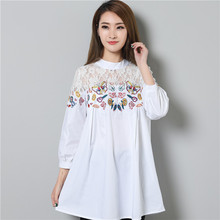 2017 New Summer Women Shirts Loose Embroidery ~ Main Atginning Butterfly Doll Long Blouse Shirt White Black 831