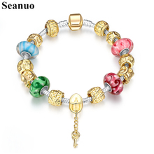 Seanuo Golden Glaze Murano Beads Chain Charm Women Bracelet Fashion DIY Key Pendant Silver Magnetic Bangle Valentine's Day Gift(China)