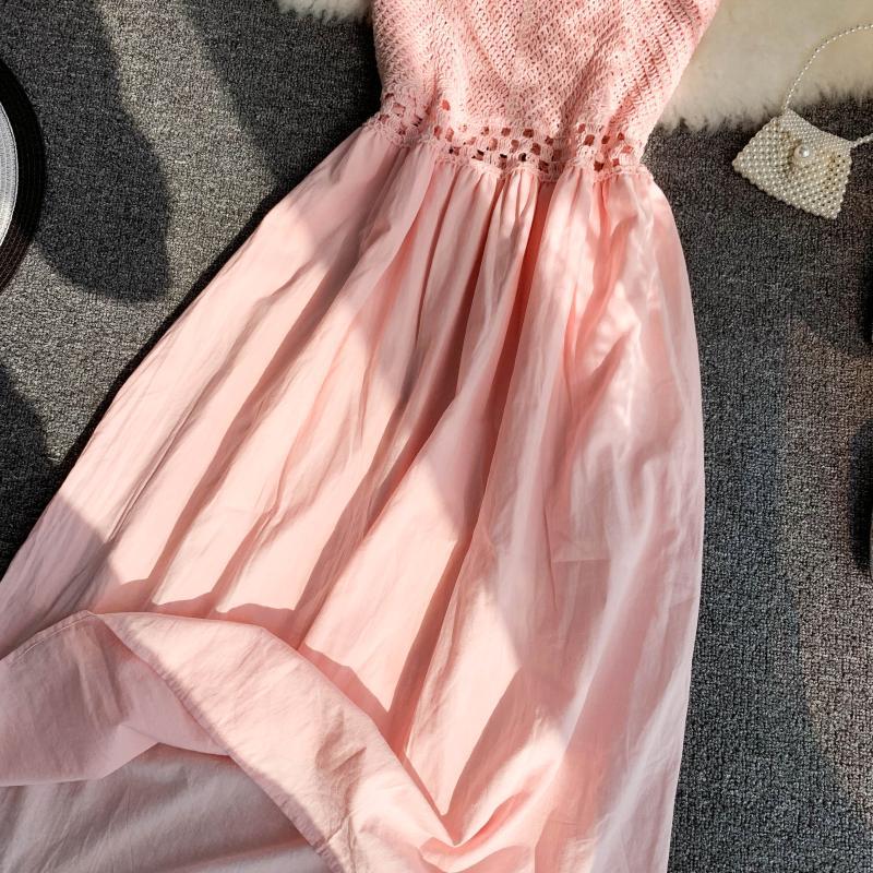 19 new fashion women's dresses Fresh openwork knit stitching V-neck strap high waist dress 15