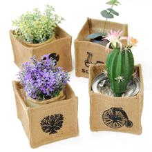 4PCS Mini Grocery Kenaf Linen Storage Box Waterproof Shelter Small Baskets Retro Small Fabric Box For Home Decoration 3