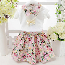 BibiCola baby girls summer clothing set kids Floral Dress suit children clothes sets short sleeve tops+Floral Dress 2-5 year old