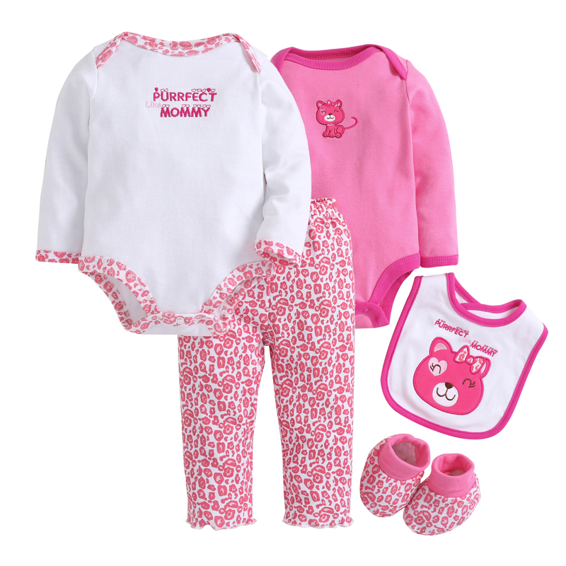 Baby Girl Clothes Sets 5pcs/set Red Cat Baby Bodysuits Cotton Toddler Jumpsuit Spring Baby Girl Boy Newborn Bebe Overall<br>