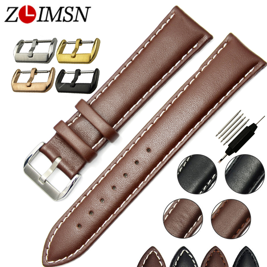 14mm 16mm 18mm 19mm 20mm 22mm 24mm 26mm Watchbands Smooth Soft 100% Leather Brown with White stitched Watch Band strap <br><br>Aliexpress
