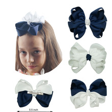 5.5'' Pinwheel Hair Bows With Clips White And Navy Colors Hair Clips Solid Grosgrain Ribbon Hair Bands Handmade Hair Accessories(China)