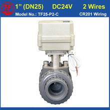 DC24V CR201 Wiring BSP/NPT 1'' PVC DN25 Electric Actuated Ball Valve TF25-P2-C10NM On/Off 15 Sec Metal Gear For Water Control