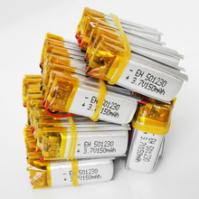 Wholesale 50 pcs 3.7V 150mAh Lithium Polymer LiPo li ion Rechargeable Battery For DIY Mp3 MP4 GPS PSP bluetooth headphone 501230(China)