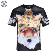 Mr.1991INC New Animals fashion t-shirt for men 3d t shirt print golden crown wolf glossy rayon t-shirt 3 models