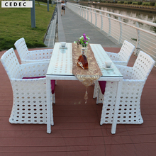 5 Pc Patio Rattan Furniture Set Outdoor Backyard long square Dining Table and 4 Chairs White with cushion