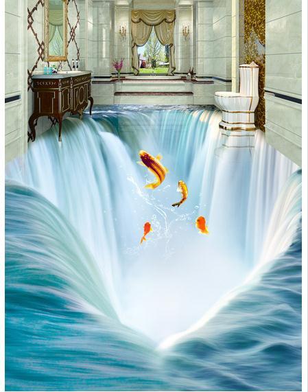 Customized 3d wallpaper 3d floor painting wallpaper Big waterfall water 3 d floor tile stereograph beauty Floor painting<br>
