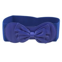 MAKE Hot Royal Blue Butterfly Knot Buckle Elastic Waist Belt for Ladies(China)