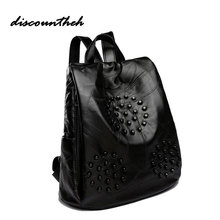 Fashion Women Rivet Backpacks Black Soft Washed Leather Bag Schoolbags For Girls Female Leisure Bag