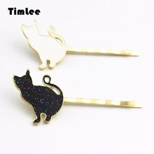 Timlee H006 Cute Barrettes Frosted Pussy Black White Cat Hairpin Hair Clips Hair Accessary