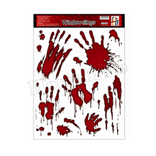 2016 New Arrivals Halloween Horror bloody glass stickers Halloween Toys Carnival Masquerade RPG Blood fingerprint patterns HW248