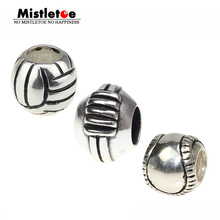 Authentic 925 Sterling Silver Sports American Footbal Volleyball Baseball Charm Bead Fit Brand Bracelets Women Jewelry