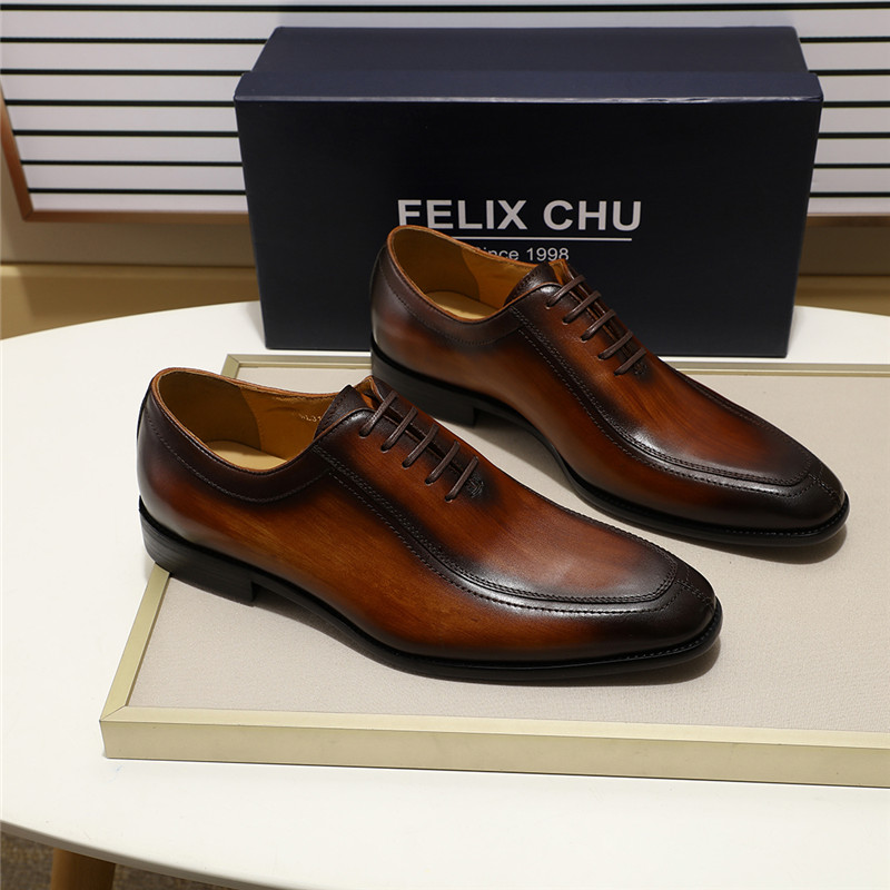 Formal Shoes Felix Chu Mens Dress Shoes Solid Colors In Calfskin Apron Toe Oxford Brown Black Genuine Leather Lace Up Mens Formal Shoes Ture 100% Guarantee Men's Shoes