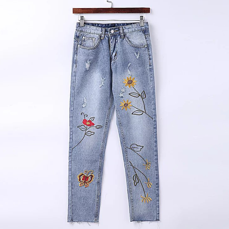 Stretch Embroidered Jeans For Women Elastic Flower Brand Jeans Female Pencil Denim Pants Pattern Femme Hole Trousers Women S524Îäåæäà è àêñåññóàðû<br><br>