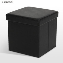 iKayaa FR Stock Folding Storage Ottoman Foot Stool Seat Modern Footrest Foldable Storage Box Pouffe Home Furniture