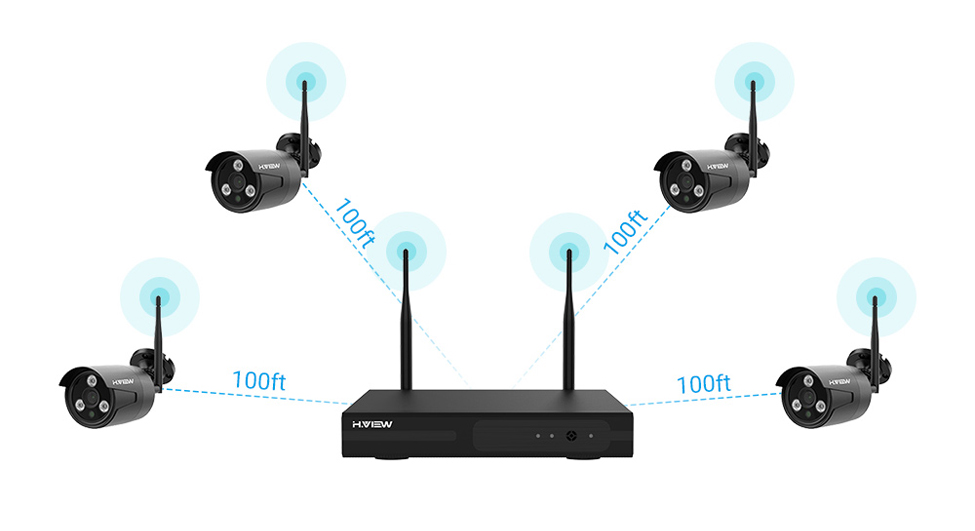 H.VIEW 1080P NVR WIFI Surveillance Security Camera System 4CH 2MP Wireless CCTV Camera System CCTV Camera WIFI Surveillance Kit (8)