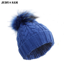 Winter Cable Hats For Boys Big Raccoon Fur Pom Pom Top Bobble Design Accessories Hip Hop Beanies Hat Knitting Style Adult Hat