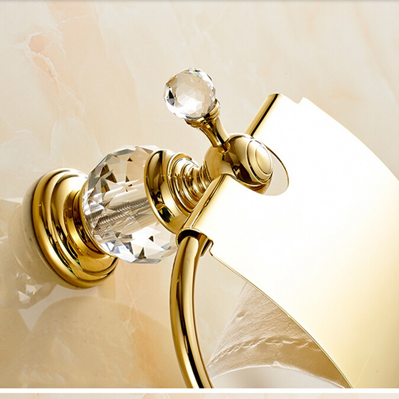 Golden Wall Mount Crystal Hook Bathroom Toilet Paper Holder Tissue Bar W/ Cover<br><br>Aliexpress