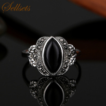 Sellsets Fashion Jewellery Ring Antique Silver Color Vintage Crystal Black Stone Rings For Women