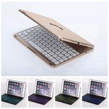 2 Gifts 7 Colors Backlit Light Wireless Bluetooth Keyboard Case for Apple iPad Air 2/iPad 6 Russian/Spanish Keyboard Customize(China)