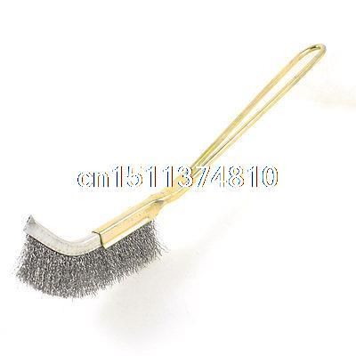 15.5cm Long Brass Tone Handle Silver Tone Bent Steel Wire Brush<br><br>Aliexpress