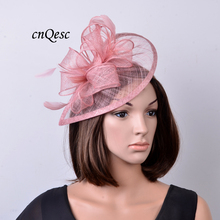 NEW colour Heather pink Feather sinamay fascinator hat for Wedding,Ascot Races,Party,Kentucky Derby,Melbourne Cup.FREE SHIPPING.