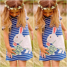 Cartoon Rabbit Kids Baby Girls Dress White And Blue Striped Summer One pieces Cute O Neck Mini Dress 2-7Y(China)