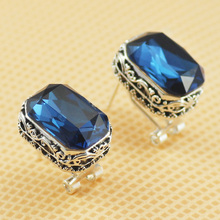 MOONROCY Free Shipping fashion jewelry wholesale Silver Color Vintage Earring Crystal Earrings blue Earrings for women